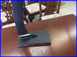 Antique Painted Wood Black Servant Butler Blackamoor Calling Card Silver Tray