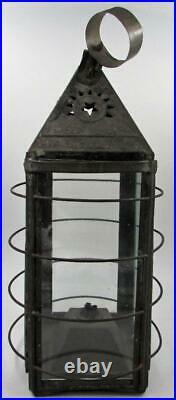 Antique Parker's Patent Pierced Tin Whale Oil Lantern Proctorsville VT Wire Cage