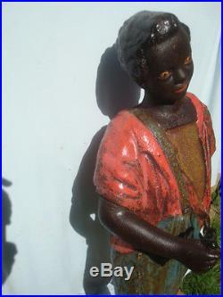 Antique Period Lawn Jockey Black Americana Cast Iron, 39 (46 On Stand)
