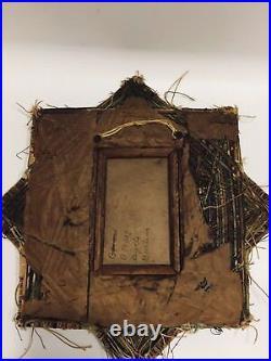 Antique Primitive Americana string Thread frame Handmade Art Frame