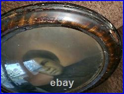 Antique RARE/HISTORIC Oval Framed Photo Convex Bubble Glass AFRICAN AMERICAN