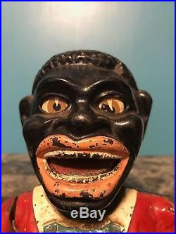Antique Rare Black Americana Black Face Piggy Bank Mechanical Bank