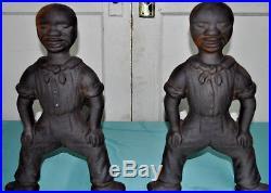Antique Sambo Black Americana Cast Iron Andirons Firedogs Folk Art 1800s Sailor