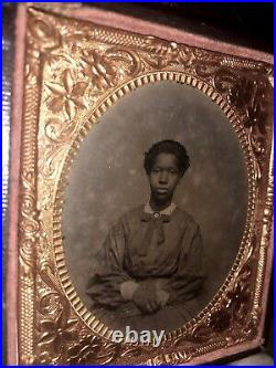 Antique / Slave Era 1860s Tintype Photo Young African American Girl Married