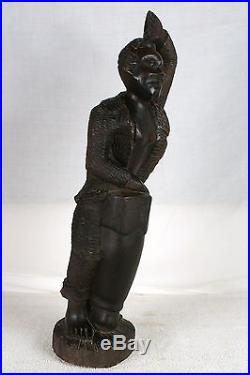 Antique Statue Folk Art Carving Sculpture Black History Americana Collectible
