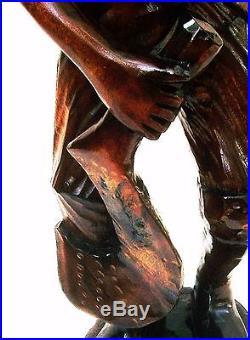 Antique Statue Folk Art Carving Sculpture Black History Americana Collectible