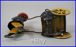 Antique Strauss Tip Top Key Wind Tin Toy, Black Man Porter, NR