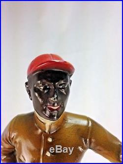 Antique Superb Original Coloration Black Americana Spelter Lawn Jockey Statue