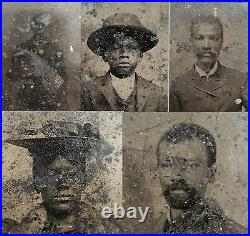 Antique Victorian African American Family Tintype Photos Lot Chicago Area Origin