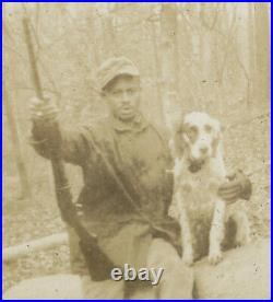 Antique Vintage 1934 African American Hunters Rifle Hound Dog Gun Men Old Photo