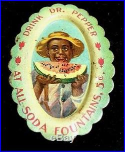 Antique Vintage Black Americana Boy Eats Watermelon Tip Tray Dr. Pepper 1910