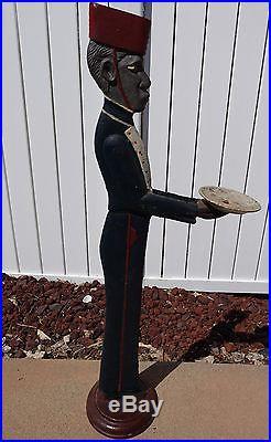 Antique Vintage Black Americana Cast Iron Bellhop Smoking Stand Ashtray 38 Tall