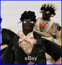 Antique Vintage Folk Art Black Americana Wedding Dolls Figures Homemade Rustic