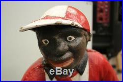 Antique Vintage Large Cast Iron Lawn Jockey Black Americana Statue