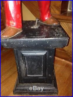 Antique Vintage Original Large Cast Iron Lawn Jockey Jocko