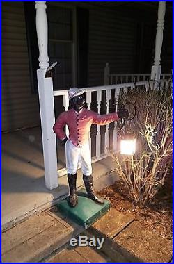 Antique Vintage Painted Concrete Lawn Jockey Horse Statue Americana Lantern