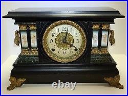 Antique Working 19th C Ingraham Ornate Victorian Mantel Shelf Clock W. H. Terhune