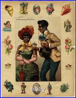 Antique c. 1880 large BLACK AMERICANA Chromo-Litho print on scrap book page