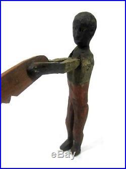 Antique c. 1900 CARVED BLACK FIGURE WITH SAW Balance Toy/ Americana/ Folk Art