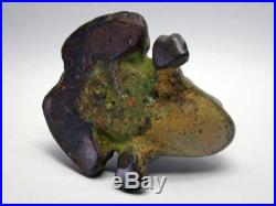 Antique solid Cast Iron Black Americana Man Riding Frog Doorstop -Extremely Rare