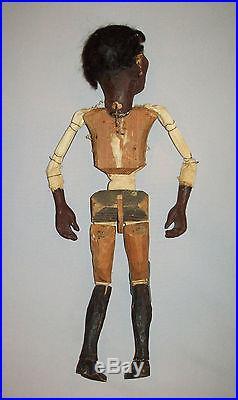 Antique vtg 1920s Folk Art Black Man Puppet Marionette paper mache wood american