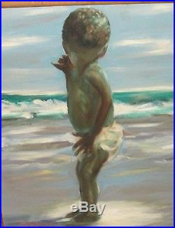 Arthur D Thomas Me And The Ocean African American Baby On A Beach Oil Painting