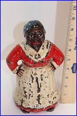 Aunt Jemima Antique Black Americana Cast Iron Art Statue Doorstop Vtg 9