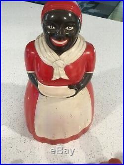 Aunt Jemima F&F Mold Die Works Plastic Cookie Jar & 10 Spice Bottles