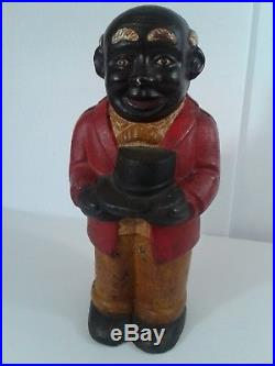 Authentic Antique Uncle Moses Cast Iron Bank 10 Very Heavy Black Americana