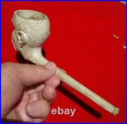 Authentic Indian Artifact Large 7.5 Clay Trade Pipe Black Americana Arrowheads