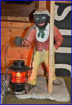 Authentic Jocko Faithful Groomsman Cast Iron Lawn Jockey Americana Art Pre 1900