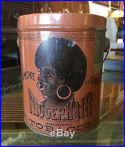 Authentic Niggerhair Tobacco Pail Tin Litho Black Americana Advertising
