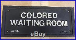 Authentic Vtg Cast Iron Black Americana Segregation Colored Waiting Room Sign