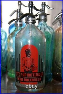 BLACK AMERICANA 7up NEW ORLEANS waiter 1920's soda water glass bottle siphon
