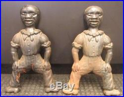 BLACK AMERICANA ANTIQUE SAILOR ANDIRONS CAST IRON FIRE DOGS FOLK ART RARE