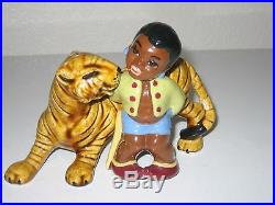 Black Americana Little Black Sambo And Tiger Salt And Pepper Shakers