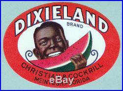 BLACK AMERICANA Unused FRUIT CRATE LABEL Vintage 1940 DIXIELAND WATERMELON BRAND