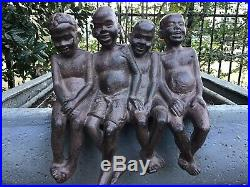 BLACK AMERICANA Vintage 4 BOYS SITTING Cast Iron