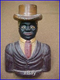 BLACK AMERICANA WELL DRESSED MAN IN TOP HAT CAST IRON DOORSTOP ANTIQUE DOOR STOP