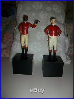 BLACK GROOM and JOCKEY STATUES RARE BLACK AMERICANA EQUESTRIAN