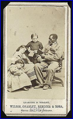 BLACK WHITE NEW ORLEANS SLAVE FREED SLAVES CIVIL WAR CDV LEARNING IS WEALTH