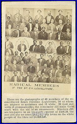 BLACK & WHITE RADICAL MEMBERS SOUTH CAROLINA LEGISLATURE CDV PHOTO FORMER SLAVES