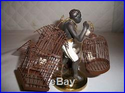BLACKAMOOR AMERICAN COLD PAINTED METAL FIGURE WITH CAGES OF BIRDSPETITE CHOSES