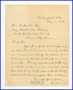 BLANCHE K. BRUCE, African American Senator, Letter Signed 1886. 1pg displayable