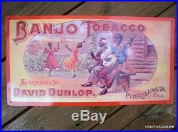 Banjo Tobacco Tin Sign Black Americana Southern Advertising Farm Dixie Fun