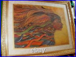 Beautiful Color Ethnic Art African Goddess by Charles A. Bibbs, 1989