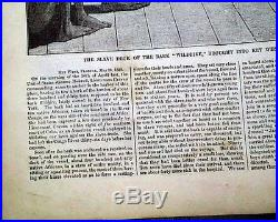 Best Slavery Africans SLAVE SHIP Print 1860 The Bark WILDFIRE 1860 Old Newspaper