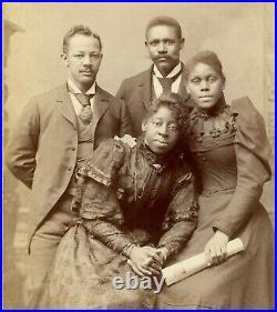 Black African American HBCU Storer College Quartet ANTIQUE Cabinet Card Photo