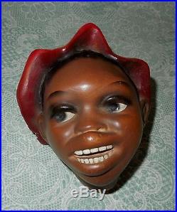Black African Americana Vintage Wall Pocket Chalkware Man's Head Fabulous Item T