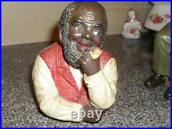 Black Americana 1900's J. Maresch Vintage Figural Tobacco Jar
